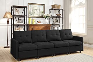 DAZONE Modular Sectional Sofa Assemble 4-Piece Modular Sectional Sofas Bundle Set Cushions, Easy to Assemble Left & Right Arm Chair, Armless Chair Living Room Set Sofas Charcoal Black
