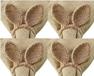 Set of 4 Burlap Bunny Ear Napkin Rings