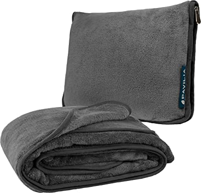 PAVILIA Travel Blanket with Soft Bag Pillow Case, Compact Blanket for Airplane, Road Trip, Camping | Large Portable Fleece Blanket for Plane Car Bus Train with Hand Luggage Strap 60x43 (Charcoal Gray)