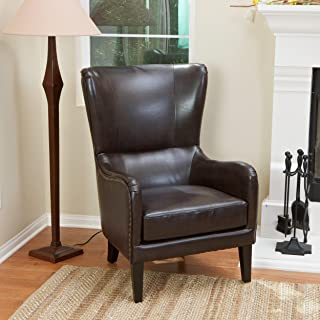 Christopher Knight Home Lorenzo Bonded Leather Studded Club Chair, Brown