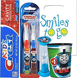 Thomas & Friends 5pc Bright Smile Oral Hygiene Bundle! Thomas the Train 2pk Manual Toothbrush, Toothpaste, Brushing Timer & Mouthwash Rinse Cup! Plus Dental Gift Bag & Tooth Saver Necklace!
