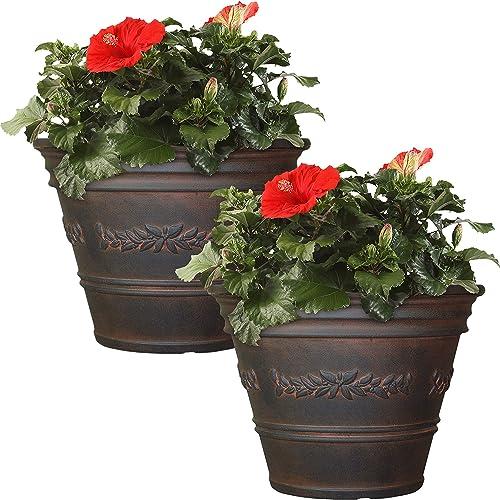 discount Sunnydaze Laurel Flower Pot Planter, Outdoor/Indoor Heavy-Duty Double-Walled Polyresin, UV-Resistant popular Rust Finish, Set lowest of 2, 13-Inch Diameter online sale