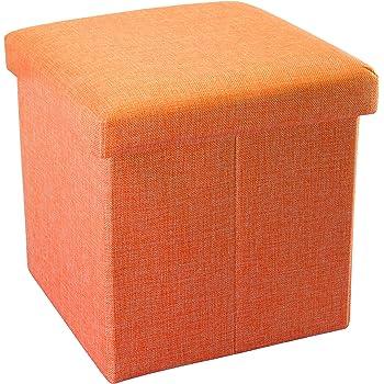 Intirilife Puff Baúl Plegable 30x30x30 cm in Naranja Mandarina ...