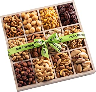 Holiday Mixed Nuts Wood Gift Box – Gourmet Assortment of Nuts, Pretzel Pub Mix & Other Salty, Savory Snacks for Mother's Day, Christmas, Holiday or Corporate – Large Variety in Sectional Tray