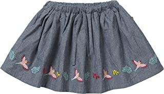 Piccalilly Jupe en chambray bleu denim pour fille en coton bio, jolie broderie