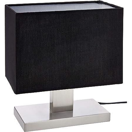 Umi. by Amazon Lampe de table, abat-jour en tissu et base rectangulaire en métal, 25,91 cm