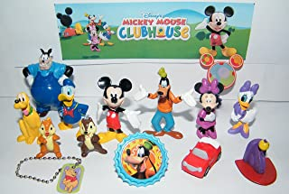 Clubhouse Disney Mickey Mouse Deluxe Party Favors Goody Bag Fillers Set of 14 with Figures, a Mini Dog Tag and ToyRing featuring Mickey, Toodles, Minnie, Goofy and More!
