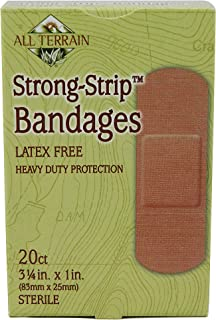All Terrain Strong Strip Bandages, 20 ct, 1.0 x 3.25-Inch, Adhesive Bandages, Latex-Free, Sterile, Non-Stick Pads, Heavy Duty Bandages