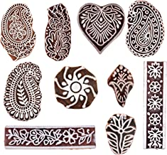 Hashcart Hand-Carved Wooden Baren/Motif Printing Block for Artistic Design On Saree Border/Painting