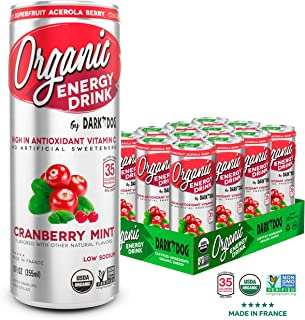 ORGANIC Energy Drink by Dark Dog - Cranberry Mint | 12 Oz (12Count) | Powerful Organic Caffeine From Green Coffee, Green Tea & Guarana | High In Antioxidant Vitamin C From Superfruit Acerola Berry |