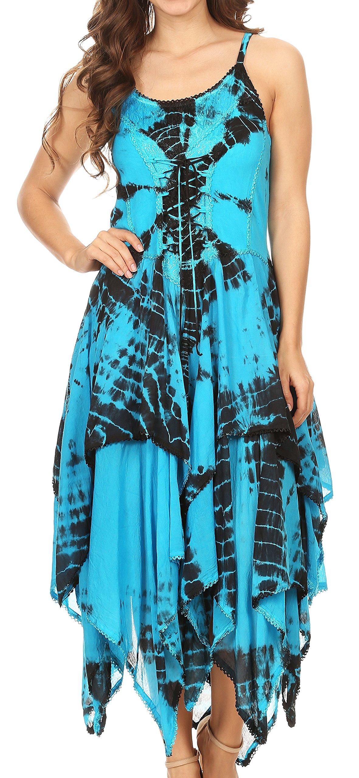 Available at Amazon: Sakkas 902 Annabella Corset Bodice Handkerchief Hem Dress - Black/Turquoise - One Size Plus