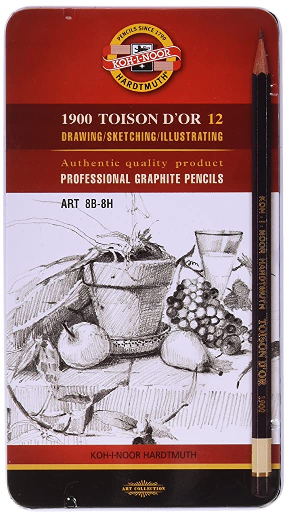 Koh-i-noor Toison D'or 12 Professional Graphite Pencils. Art 8b - 8h. 1902