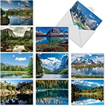 10 Landscape Note Cards for All Occasions 4 x 5.12 inch - Mountain Photography Greeting Cards with Envelopes - 'Reflections' Boxed Notecard Assortment - Beautiful Blank Stationery Card M1728BNsl
