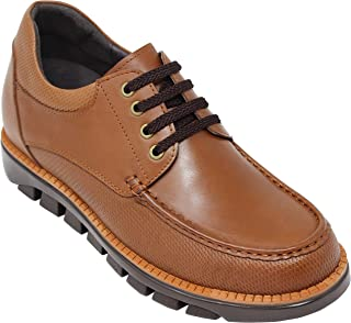 CALTO Men's Invisible Height Increasing Elevator Shoes - Brown Leather Lace-up Boat Shoe Style Casual Sneakers - 3 Inches Taller - T9113