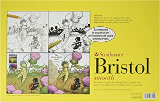 Strathmore 346-1 Paper 300 Series Sequential Art Bristol, Smooth, 11 x 17 Inches, White 24 Sheets