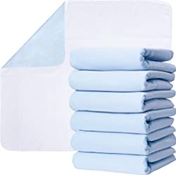 Washable Underpads, Pack of 6 Large Bed Pads, 30  x 34 , for use as Incontinence Bed Pads, Reusable pet Pads, Great for Dogs, Cats, Bunny & Seniors by Green Lifestyle