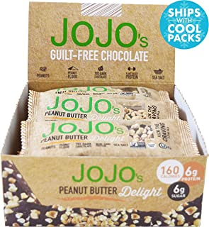 JOJO's Chocolate Peanut Butter Delight Low Carb, NON-GMO, Gluten Free, Paleo Friendly, Plant Based Protein, 12 1.2 Ounce Individually Wrapped Bars