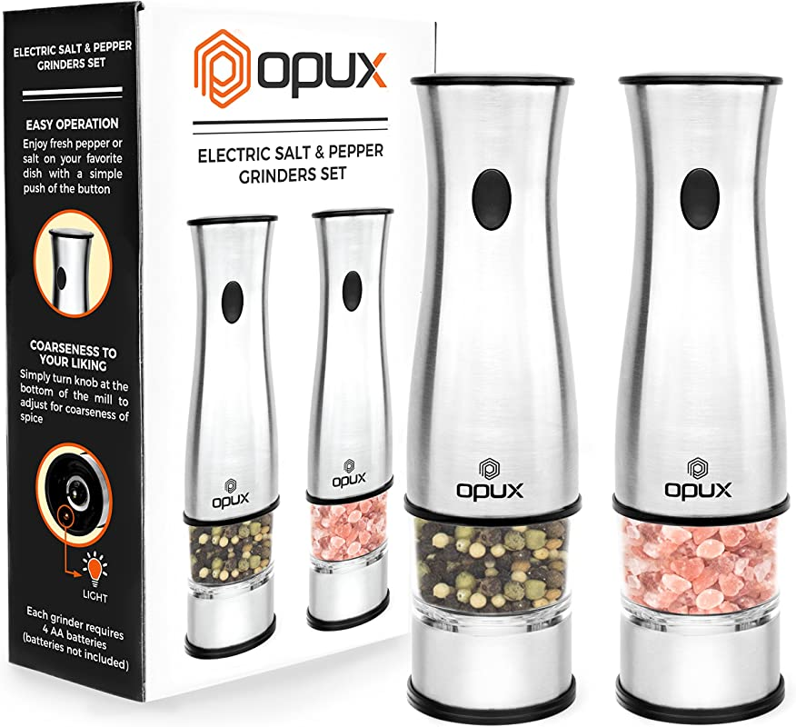OPUX Premium Deluxe Electric Salt And Pepper Grinder Set Automatic Pepper Mill Battery Operated Salt Shaker Adjustable Coarseness With LED Light Stainless Steel