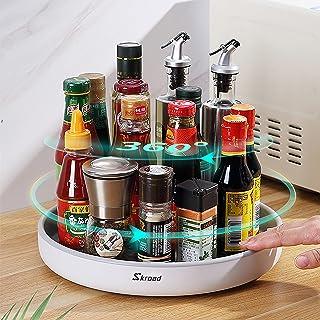 Skroad Lazy Susan Étagère à épices rotative multifonction pour le rangement de la cuisine, support rotatif pour condiments...