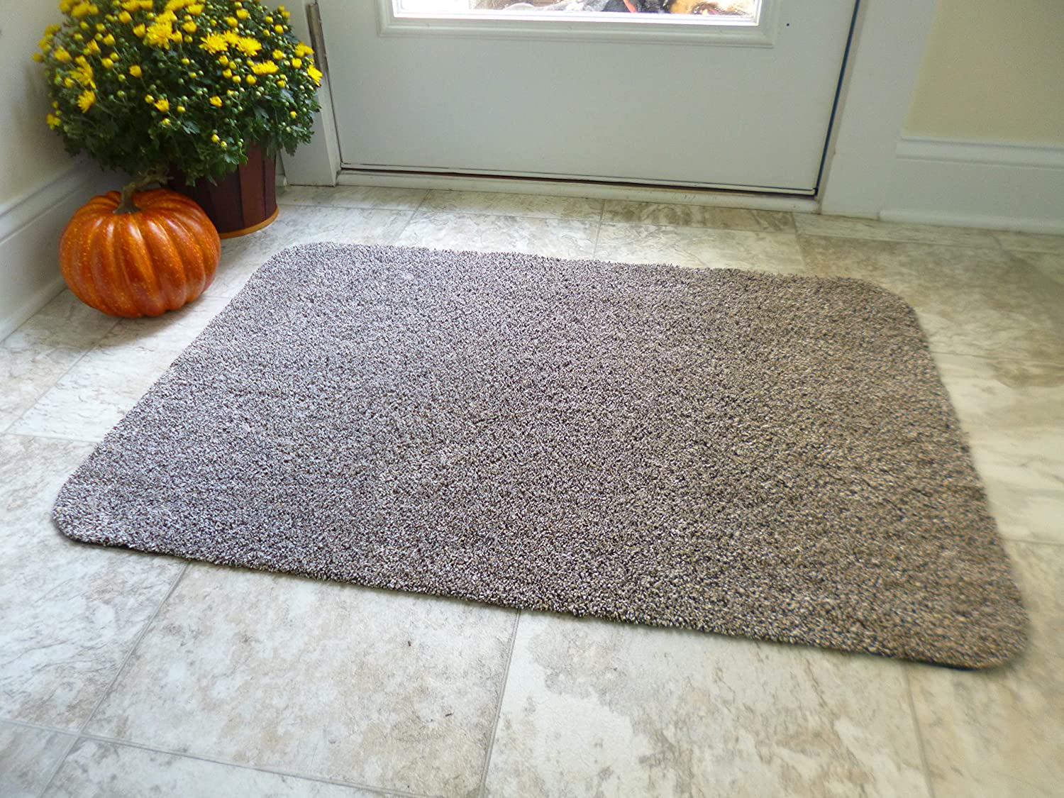 Optimal Home Doormat Indoor, Foyer Entry Mat, Mud Mat, RV Rug, Non Slip Rubber Backed, Traps Dirt, Large 2x3 Low Profile Carpet 24x36,Brown Beige Rug