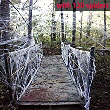 Moon Boat Fake Spider Web Cobweb Halloween Party Decorations Props 1000 sqft with 120 Spiders