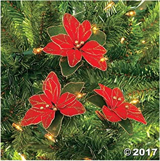 Red Glitter Poinsettia Christmas Tree Ornaments ( 2 DOZEN PER ORDER)