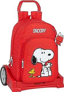 Mochila Escolar con Carro Evolution Incluido de Snoopy, rojo, m (M860Q)