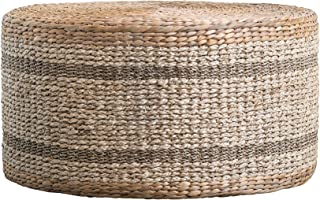 Creative Co-op Brown Striped Round Water Hyacinth & Seagrass Ottoman/Table Pouf