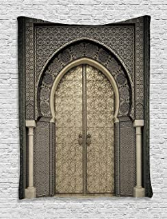 Gray Tapestry Art Decor Collection - Aged Gate Moroccan Geometric Pattern Doorway Design Entrance Architectural Oriental Style Artistic Tapestry Wall Hanging For Bedroom - 40 W x 60 L Inch, Gray Beige