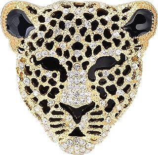 Vintage Black Enamel Spotted Leopard Head Rhinestone Crystal Animal Brooch Pin Lapel Pin Badge