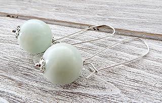 Orecchini con amazzonite verde acqua, pendenti in argento, orecchini pietre dure, gioielli moderni, bijoux fatti a mano, g...
