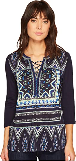 Tribal - 3/4 Sleeve Lace-Up Printed Top