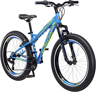 Mongoose Fat Tire Bikes for Kids and Children, with Hi-Ten Steel Frame or Aluminum Frame and 20-Inch or 24-Inch Wheels, Great for Beginner Level Riders