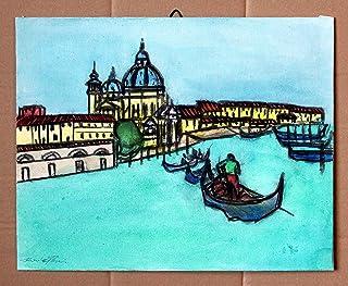 Venezia-Dipinto ad acquarello su cartoncino telato,Dimensioni cm 30x24x0,3 cm,pronto per essere attaccato al muro.Made in ...