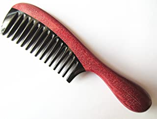 Myhsmooth Zb-yb-mt Wide Tooth Handmade No Static Black Buffalo Horn Comb with Violetwood Handle (Rounded)