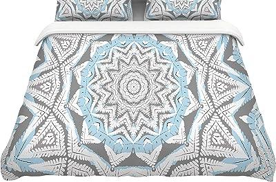 104 x 88, Kess InHouse Sarah Oelerich Mandala Dot Blue AquaKing Cotton Duvet Cover