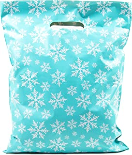 Merchandise Bags 12x15 - Snowflakes Print - 100 Pack - Glossy Retail Bags - Shopping Bags for Boutique - Boutique Bags - Plastic Shopping Bags