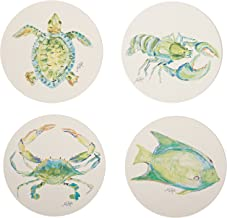 CoasterStone AS10073 Sea Life Absorbent Coasters, 4-1/4-Inch, Set of 4