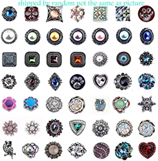 Efivs Arts 20pcs Mixed Random Rhinestone Snap Chunk Press Button Jewelry Charms 18mm for Snap Jewelry Making