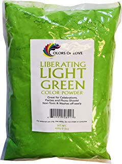 Colors of Love Light Green Holi Color Powder - 1 Pound Bag - Ideal for events, bath bombs, youth group color wars, Holi events and more!