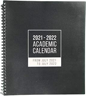 $34 » 2021-2022 July to June Academic Calendar in Black with Month & Week Views and To Do Lists for Notes, Tasks and Appointments