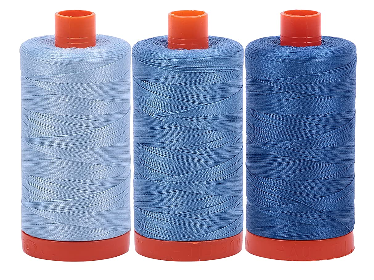 Bundle of Aurifil 50wt Egyptian Cotton Thread, Large 1422 yard Spools, with and without Aurifil Empty Thread Case 12 Spool Capacity (3 Spool Bundles, 2715 2725 2730)