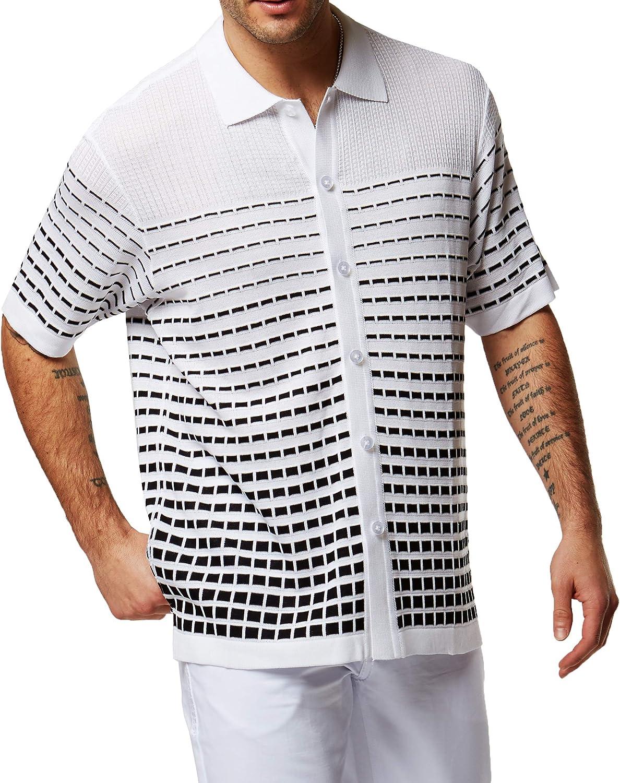 1960s Mens Shirts | 60s Mod Shirts, Hippie Shirts EDITION S Mens Short Sleeve Knit Shirt - California Rockabilly Style: Swirly Jacquard  AT vintagedancer.com