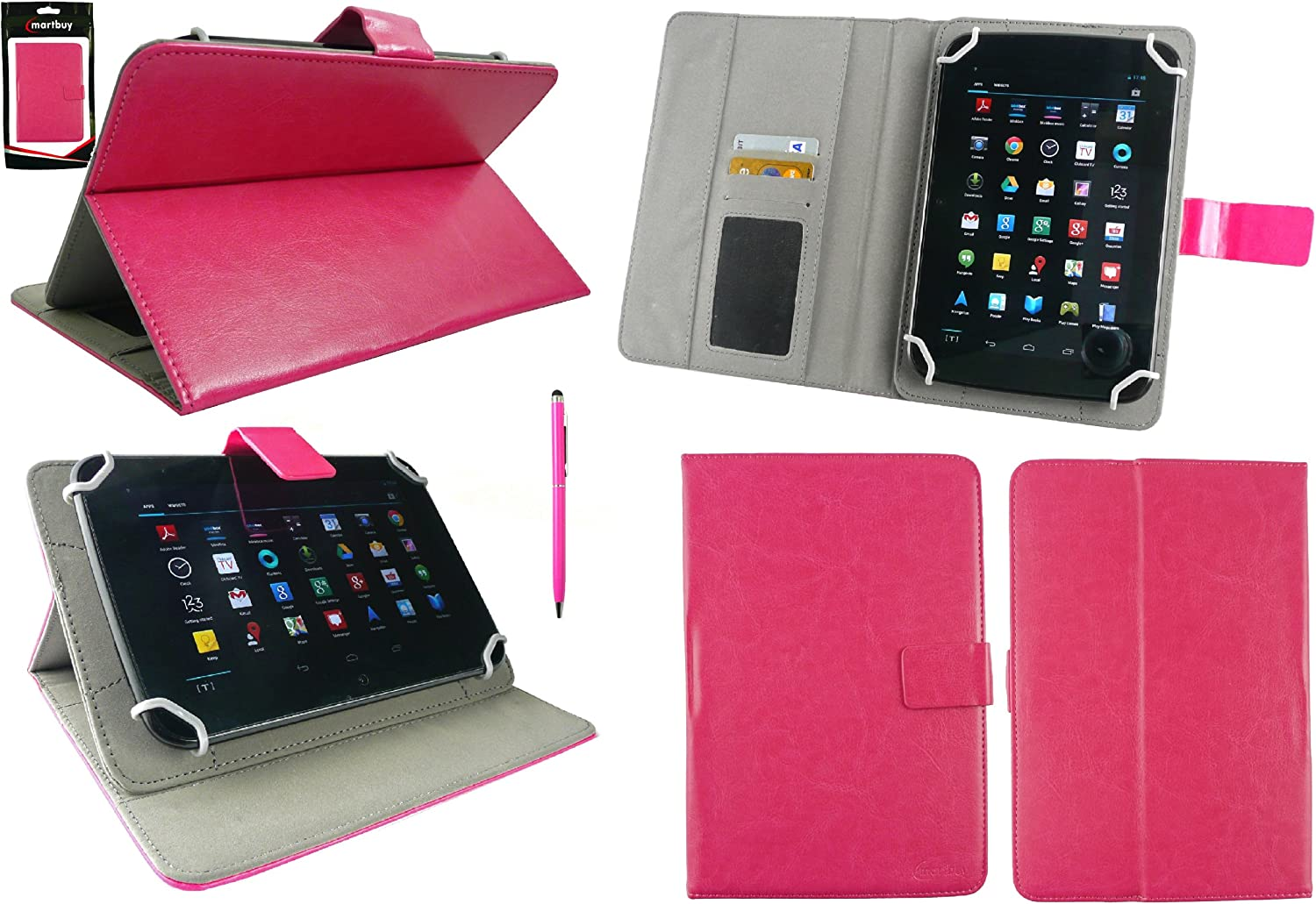 Orange Dual Function Stylus Emartbuy/® Alba 7 Inch Android Tablet Universal Range Orange Multi Angle Executive Folio Wallet Case Cover With Card Slots