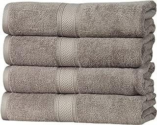 HILLFAIR 4 Pack Cotton Bath Towels Set- 600 GSM 100% Combed Cotton Bath Towel Set- 28