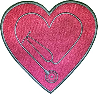 Heart Stethoscope Design Iron On Patch - Great for Doctors and Nurse Care