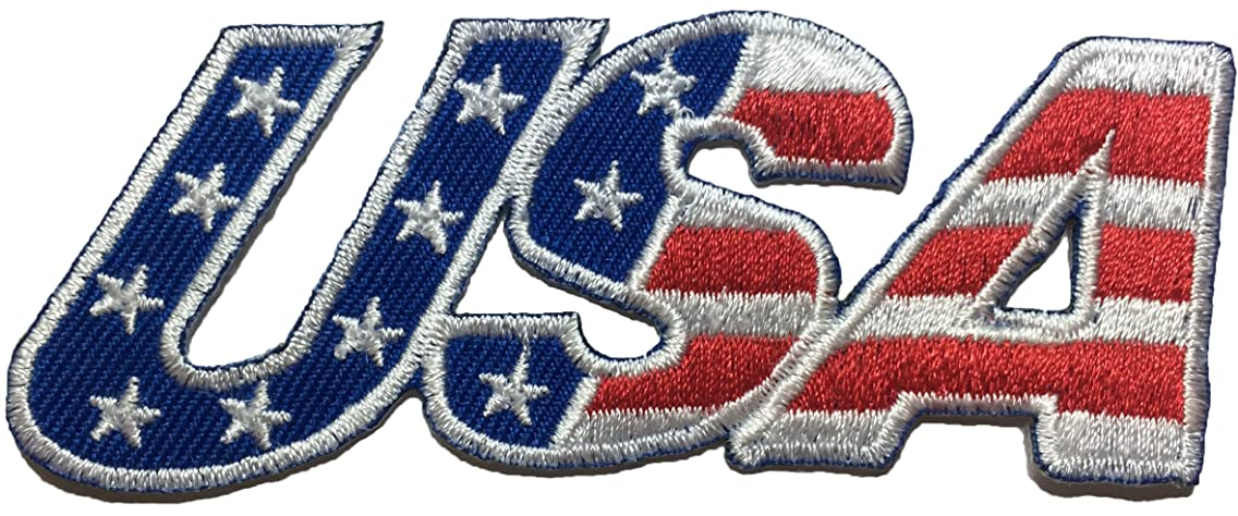 USA American Alphabet Flag Patch Sew Iron on Applique Embroidered Emblem Badge Patch By Ranger Return (IRON-USA-ALPHABET)