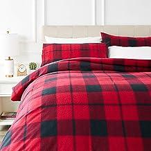 AmazonBasics - Juego de cama de franela con funda nórdica - 200 x 200 cm/50 x 80 cm x 2, Tartán rojo