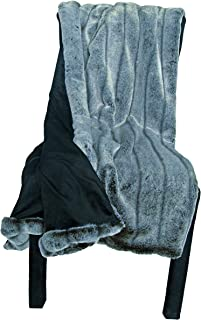 Ditz Designs Extra Large/Thick Luxurious Faux Fur Throw, Pelted Gray Rabbit 60
