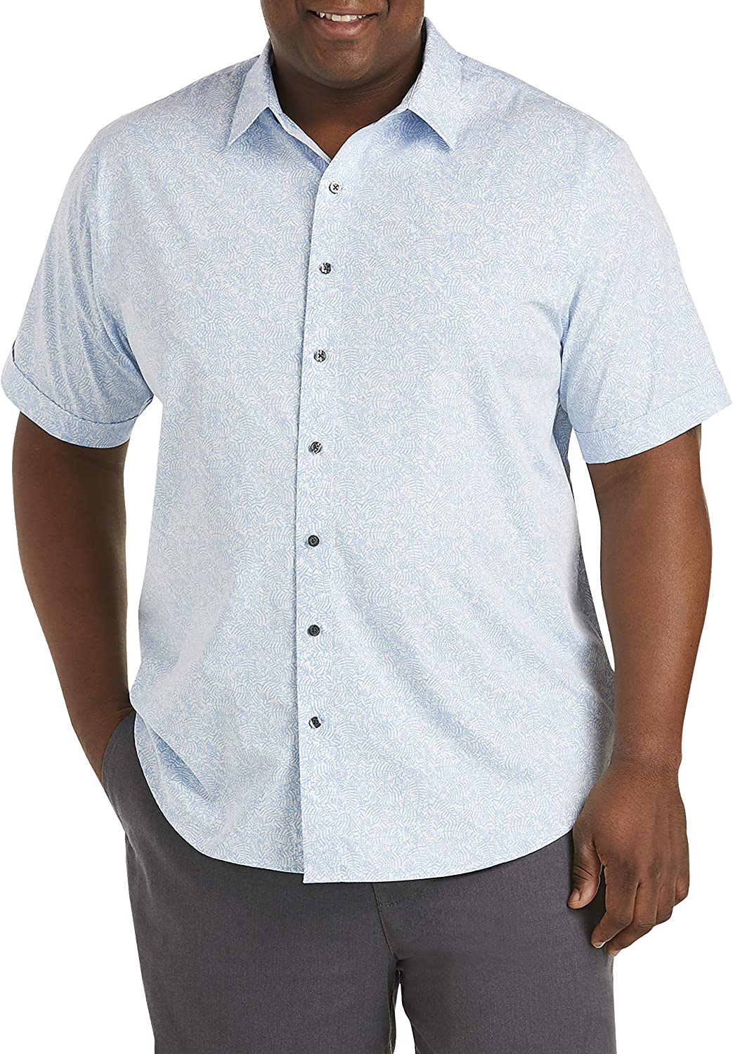 DXL Synrgy Big and Tall Washed Leaf Print Sport Shirt, Blue/White